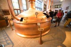 Heineken brewery. SEPTEMBER, 2014: Brewery inside Heineken Experience Museum royalty free stock photos