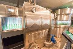 Heineken brewery. SEPTEMBER, 2014: Brewery inside Heineken Experience Museum stock photos