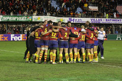 Heineken Cup rugby match USAP vs Leicester Stock Photos