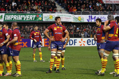 Heineken Cup rugby match USAP vs Leicester Royalty Free Stock Photo