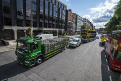 Heineken lorry with kegs in the centre of Dublin, Ireland Stock Image