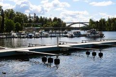 HEINOLA, FINLAND - Juni 6, 2018: Mening van haven stock foto's