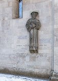 Heinrich Bullinger sculpture on the wall of the Grossmunster Stock Images