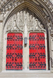 Heinz Chapel Doors Closed. Gothic Architecture of Pittsburghs Historic and Grandiose Heinz Chapel Facade royalty free stock photography