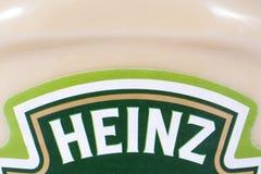 Heinz Company Logo. LONDON, UK - JULY 7TH 2017: A close-up of the Heinz company logo on one of their condiments, on 7th July 2017 royalty free stock image