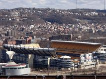 Heinz Field and Carnegie Science Center view from Mt Washington on the Ohio River. Views of Heinz Field and Carnegie Science Center with Cloudy Blue Skies on the royalty free stock images