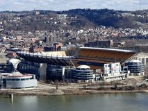 Heinz Field view from Mt Washington Allegheny River. Views of Heinz Field on  Allegheny river in Pittsburgh PA from Mt Washington stock photos