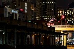 Heinz Neon Logo - Downtown Pittsburgh, Pennsylvania. A view of the Heinz neon logo and downtown Pittsburgh, Pennsylvania from the Strip District stock photos