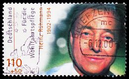 Heinz Rühmann, Welfare: International Movie Actors serie, circa 2000. MOSCOW, RUSSIA - FEBRUARY 21, 2019: A stamp printed in Germany, Republic shows Heinz R stock photo