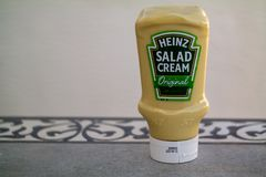 Heinz salad cream. Torrevieja, Alicante, Spain - March 25 2019 : Heinz salad cream on table with copy space royalty free stock photo