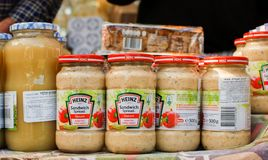 Heinz Sandwich Spread for sale at street market stock images