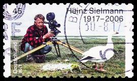 Heinz Sielmann 1917-2006, Birth Centenary of Heinz Sielmann serie, circa 2017. MOSCOW, RUSSIA - MARCH 30, 2019: A stamp printed in Germany shows Heinz Sielmann royalty free stock photo