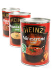 Heinz Soups. Part of the many thousands of products produced by H. J. Heinz Company with the distinctive Heinz logo and strapline 57 Varieties stock images