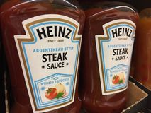 Heinz Steak Sauce bottles. Berlin, Germany - June 26, 2019: Argentinean Style Steak Sauce by Heinz. First introduced in 1876, Heinz Tomato Ketchup is a brand of royalty free stock photography