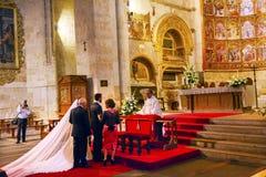 Heirat-Braut-altes Apsis-Haus-alte Salamanca-Kathedrale Spanien Lizenzfreie Stockfotografie