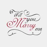 Heiraten Sie mich Beschriftungskalligraphie Stockbilder