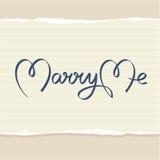 Heiraten Sie mich Handbeschriftung Stockbild