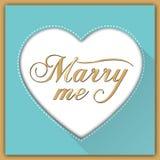 Heiraten Sie mich Kalligraphiekarte Lizenzfreie Stockfotos
