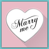 Heiraten Sie mich Kalligraphiekarte Lizenzfreies Stockbild