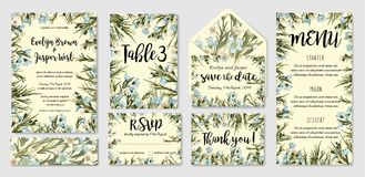 Heiratend laden Sie, Menü, rsvp ein, danke, Abwehr zu beschriften die Datumskarte e lizenzfreie abbildung