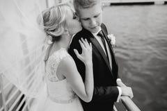 Heiratende blonde Paare Stockfoto