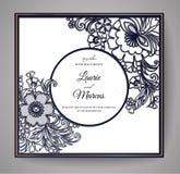 Heiratende Blumeneinladung Schablone für Laser-Ausschnitt Auch im corel abgehobenen Betrag lizenzfreie abbildung