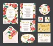 Heiratende Blumenschablonensammlung Lizenzfreie Stockfotos