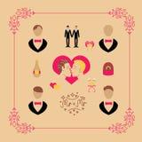 Heiratende gesetzte Elemente des homosexuellen Vektors in der flachen Art Lizenzfreies Stockbild