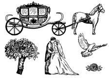 Heiratende gesetzte gezeichnete Illustration der Vektortinte Hand Stockfoto