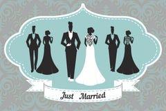 Heiratende gesetzte Karte - gerade geheiratet Stockbild