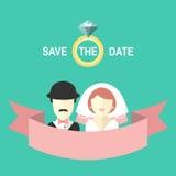 Heiratende romantische Einladungskarte mit Band, Ring, Braut und Bräutigam in der flachen Art Sparen Sie den Datumstext im Vektor Stockfotografie