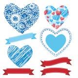 Heiratende romantische Sammlungsbänder, Herzen, Blumen Grafiksatz Stockfotos
