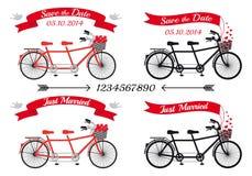 Heiratende Tandemfahrräder, Vektorsatz Stockfoto