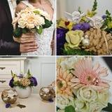 Heiratender Blumendekorationssatz Stockfotos