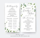 Heiratender Blumengrünzeremonie- und Parteiprogrammkartenvektor Lizenzfreies Stockbild