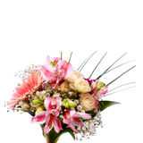 Heiratender Brautblumenstrauß von weißen Rosen und von rosa Lilien Lizenzfreie Stockfotos