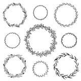 Heiratender grafischer Elementmit blumensatz, Teiler, Lorbeer Dekoratives Einladungsdesign stock abbildung