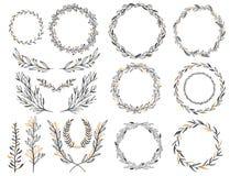 Heiratender grafischer Elementmit blumensatz, Teiler, Lorbeer Dekoratives Einladungsdesign lizenzfreie abbildung