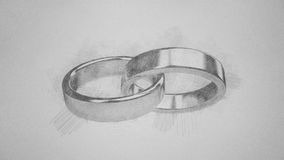 Heiratheirat heiraten die Ringringe, die penscil Skizze heiraten Lizenzfreies Stockbild