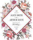 Heiratsdankeinladung Schöne realistische Blumen Kamillen-Rosen-Karte Stockbilder