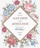 Heiratsdankeinladung Schöne realistische Blumen Kamillen-Rosen-Karte Feld, Aufkleber Vektor Victorian Illustration petunie Stockbilder