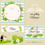 Heiratsdesignschablone und -elemente Tropische abstrakte Vektorillustration Lizenzfreies Stockbild