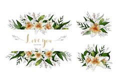 Heiratseinladungskartenblumenlilienblumenstrauß und -beschriftung
