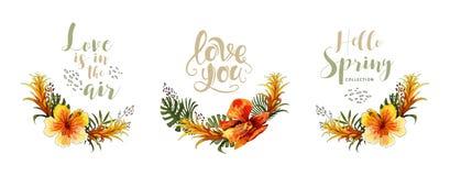 Heiratseinladungskartentropischer Blumenorchideenblumenstrauß und -beschriftung