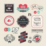 Heiratselementaufkleber und -rahmen Weinlese-Art Stockbild