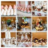 Heiratssüße Muffins des vielzahlnachtischs, Kuchen mit geschmackvoller Buffetfarbe verziert mit Schlagsahne, Schokoriegel, Buffet stockbilder