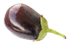 Heirloom eggplant with water drops isolated Stock Photo