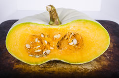 Heirloom Pumpkin Halve on white Stock Photography