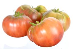 Heirloom tomato. A group heirloom tomato isolated on white background royalty free stock photography
