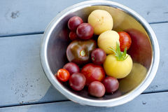 Heirloom tomatoes. Bowl of colorful heirloom tomatoes sitting on a vintage picnic table Royalty Free Stock Photography